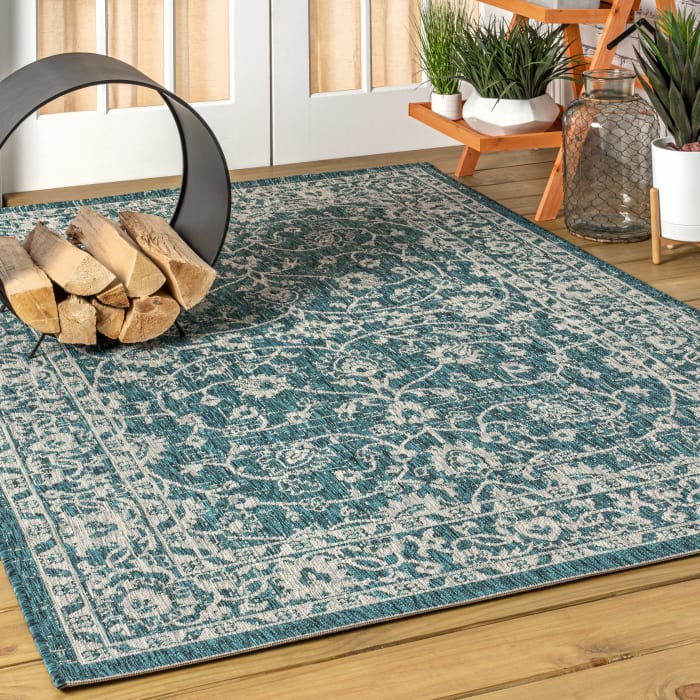 Vine and Border Textured Weave Outdoor Teal/Gray  Rug: 3' x 5' Area Rug