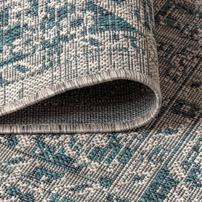 Boho Medallion Textured Weave Outdoor Gray/Teal Rug: 2.25' x 8' Runner Rug