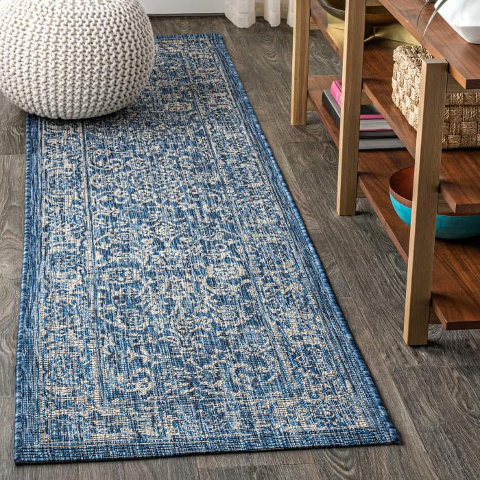 Bohemian Textured Weave Floral Outdoor Navy/Gray Rug: 2.25' x 8' Runner Rug