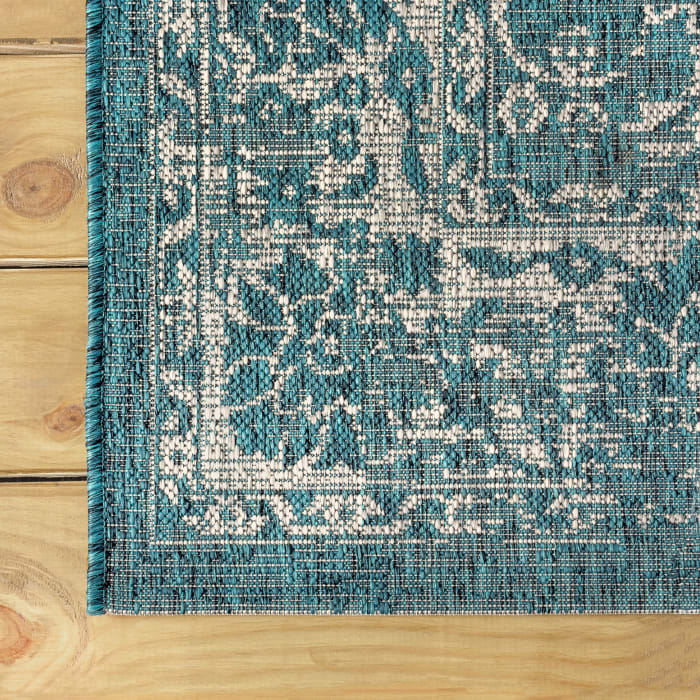 Bohemian Textured Weave Floral Outdoor Teal/Gray Rug: 2.25' X 8' Runner Rug