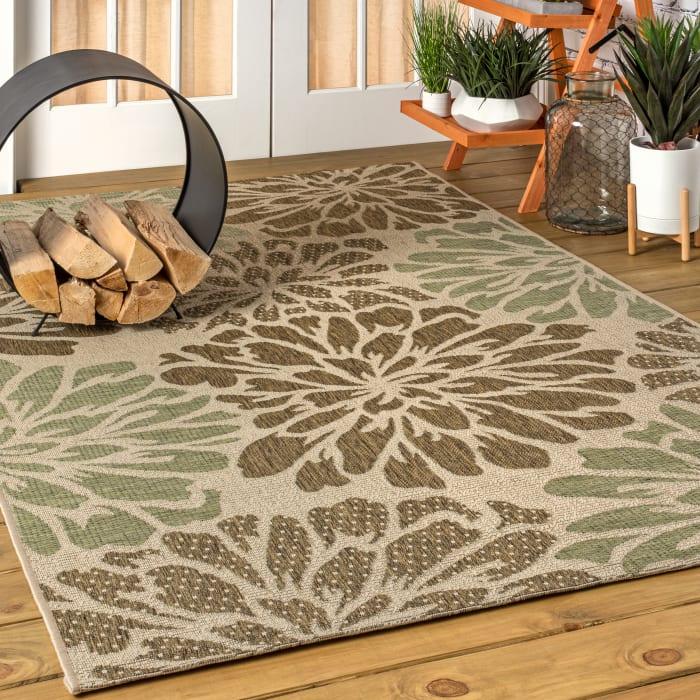 Modern Floral Textured Weave Outdoor Sage/Brown  3' x 5' Area Rug
