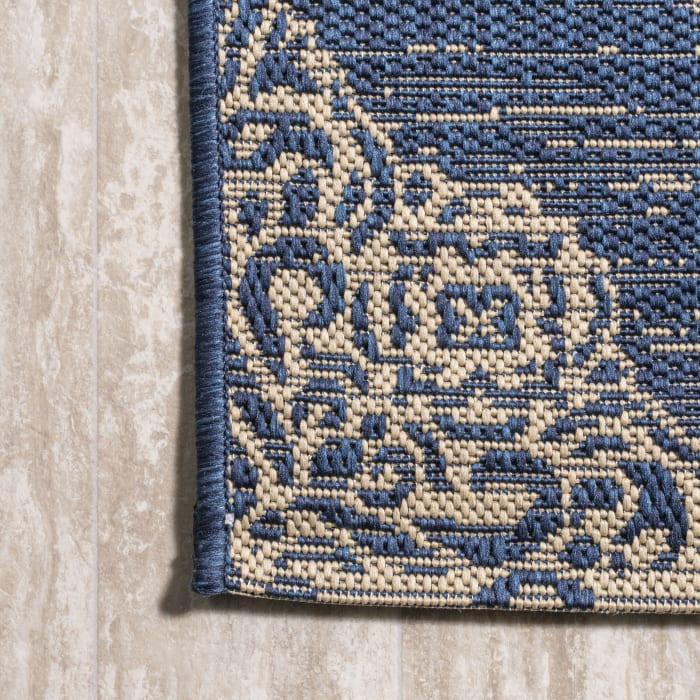 Ornate Medallions Outdoor Navy/Beige 2.25' x 10' Rectangular Runner Rug