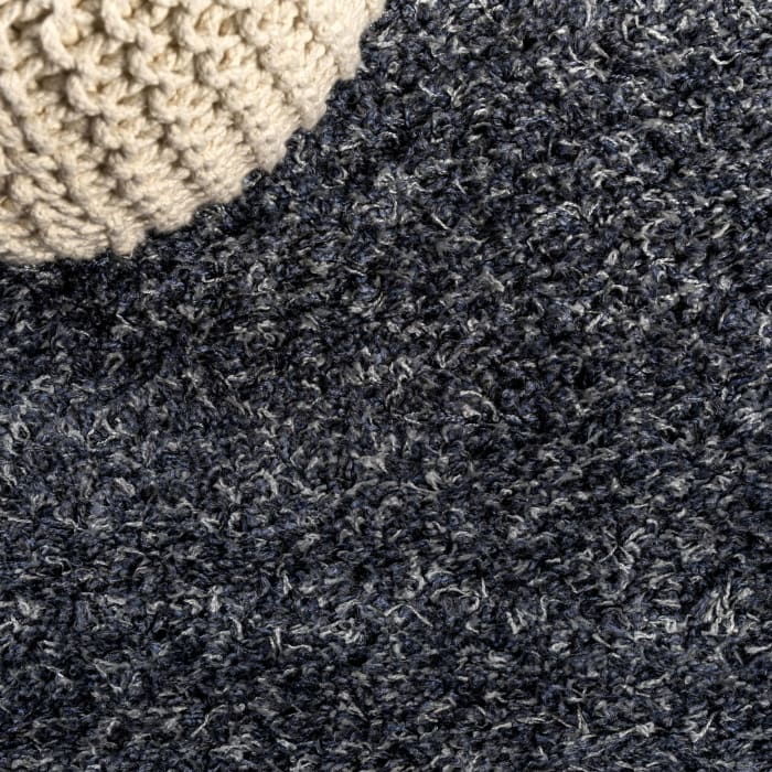 Shag Plush Denim Blue 2.25' x 8' Rectangular Runner Rug