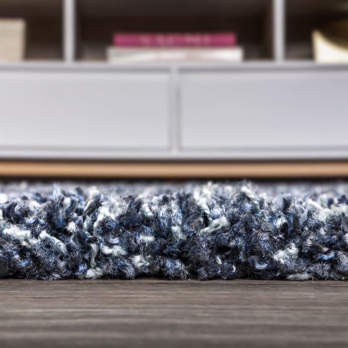 Shag Plush Tassel Denim Blue 2.25' x 8'Rectangular Runner Rug
