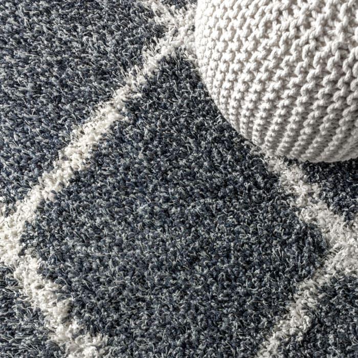 Shag Plush Tassel Moroccan Geometric Trellis Denim Blue/Cream 2.25' x 8' Rectangular Runner Rug