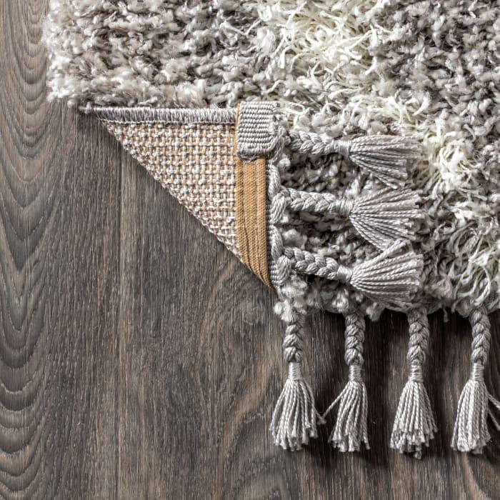 Shag Plush Tassel Moroccan Geometric Trellis Grey/Cream 3' x 5' Area Rug