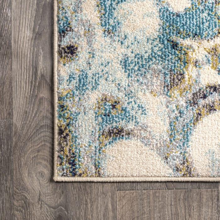 Pebble Blue & Beige Marbled Abstract Blue/Beige 2.25' x 8' Runner Rug