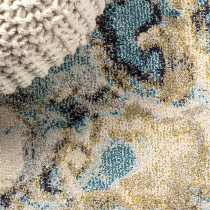 Pebble Blue & Beige Marbled Abstract Blue/Beige 3' x 5' Area Rug