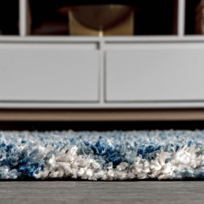Ogee Moroccan Trellis Shag Indigo Blue/Ivory 2.25' x 8' Runner Rug