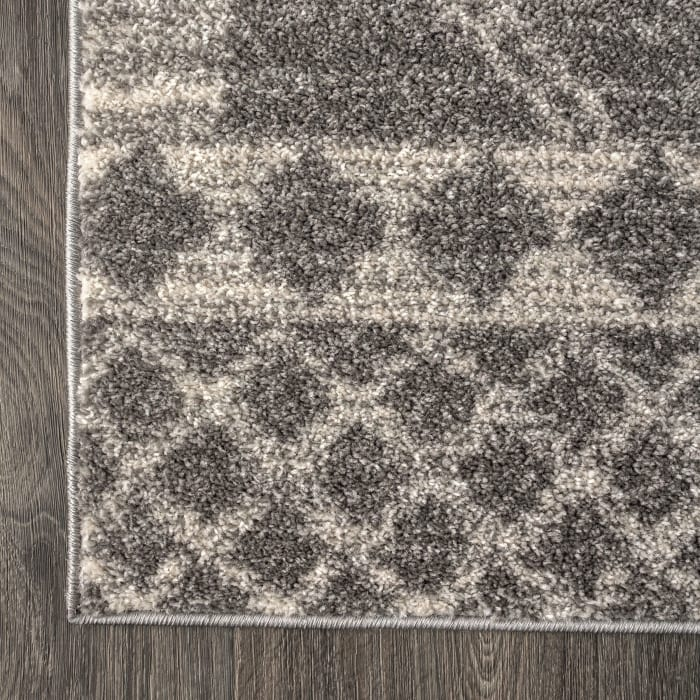 Moroccan Beni Souk Gray/Cream 2.25' x 8' Runner Rug