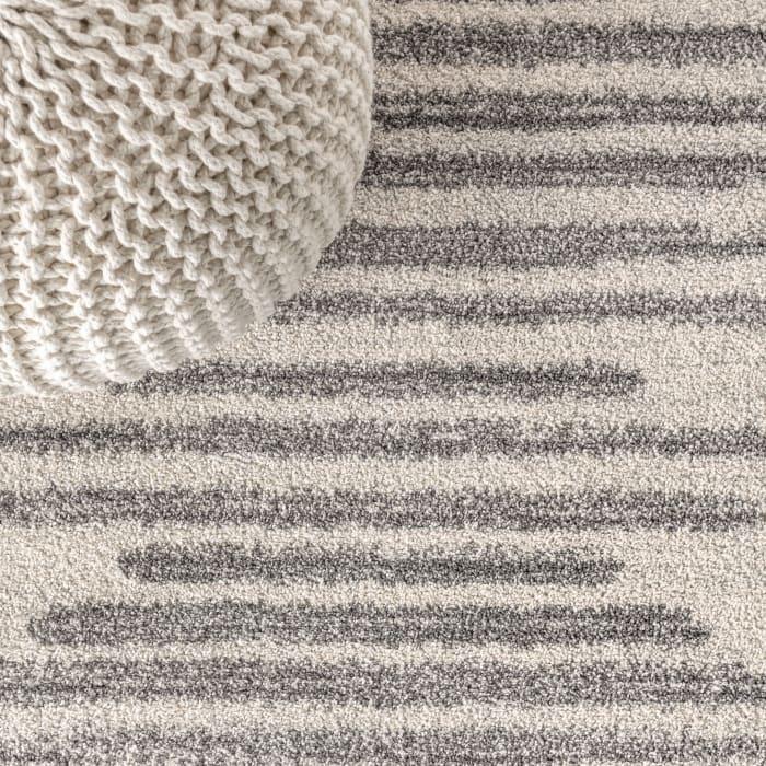 Berber Stripe Geometric Cream/Gray 2.25' x 8' Runner Rug