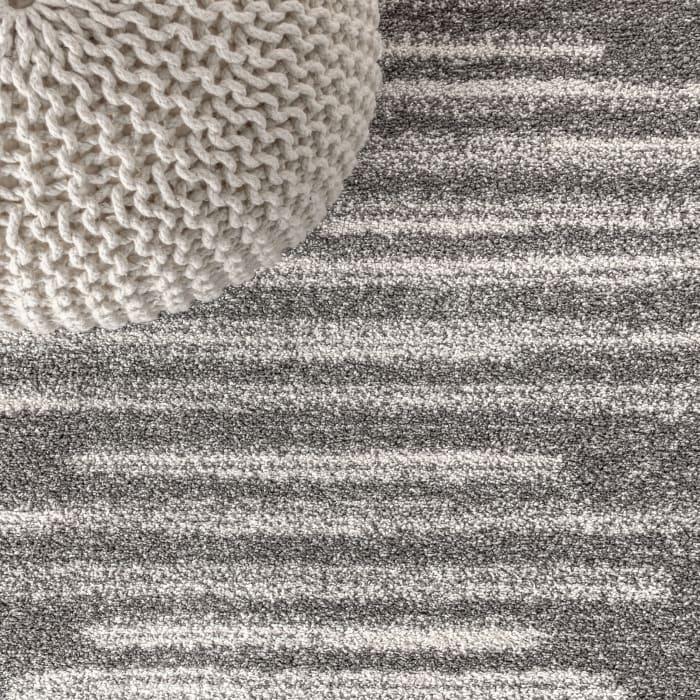 Berber Stripe Geometric Gray/Cream 3' x 5' Area Rug