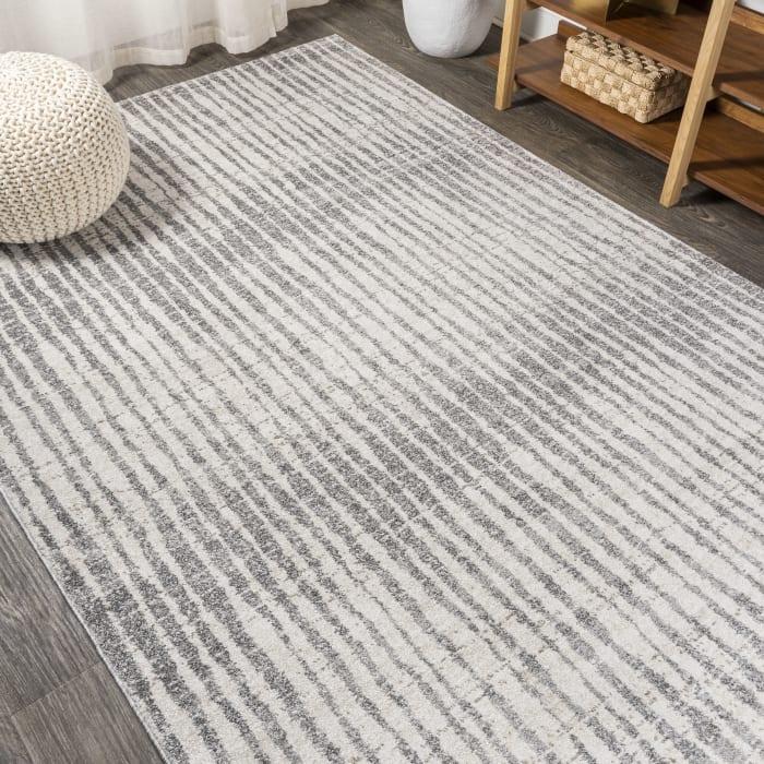 Modern Bold Stripe Beige/Dark Gray 3' x 5' Area Rug