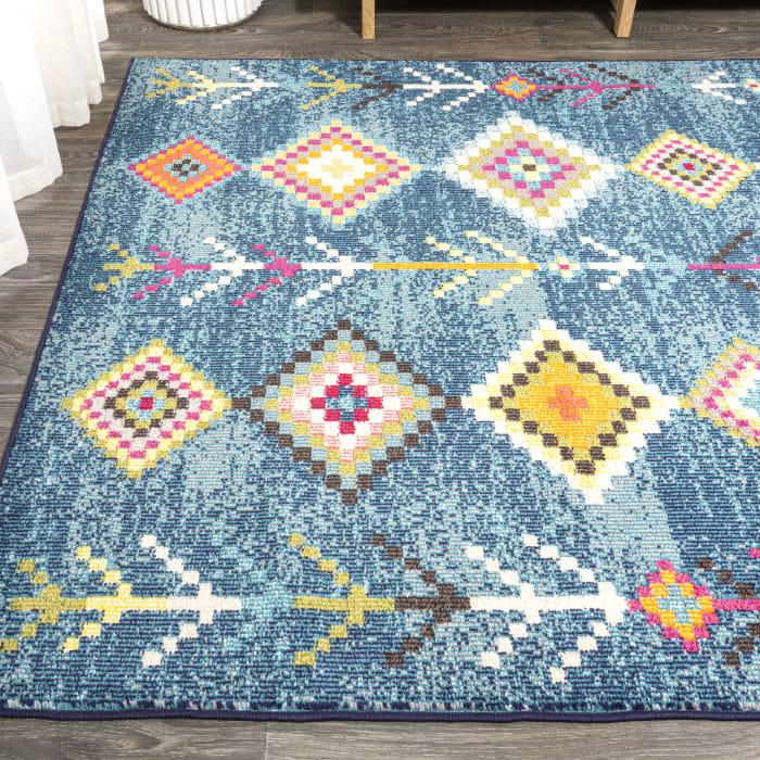 Tribal Love Geometric Dark Blue/Multi 3' x 5' Area Rug