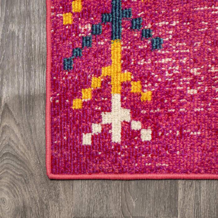 Tribal Love Geometric Pink/Multi 2.25' x 8' Runner Rug