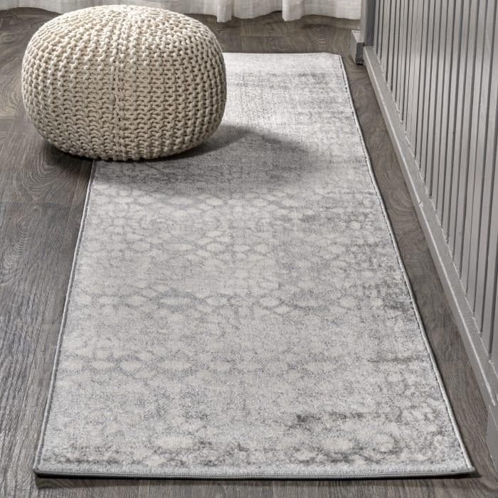Ornate Geometric Tile Gray  2' x 8' Runner Rug