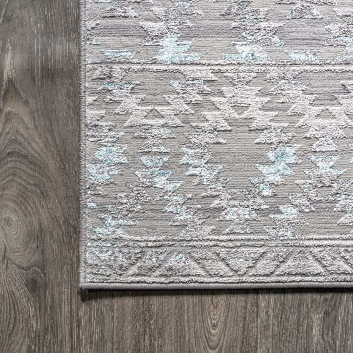Ancient Faded Trellis Gray/Turquoise 2' x 8' Runner Rug