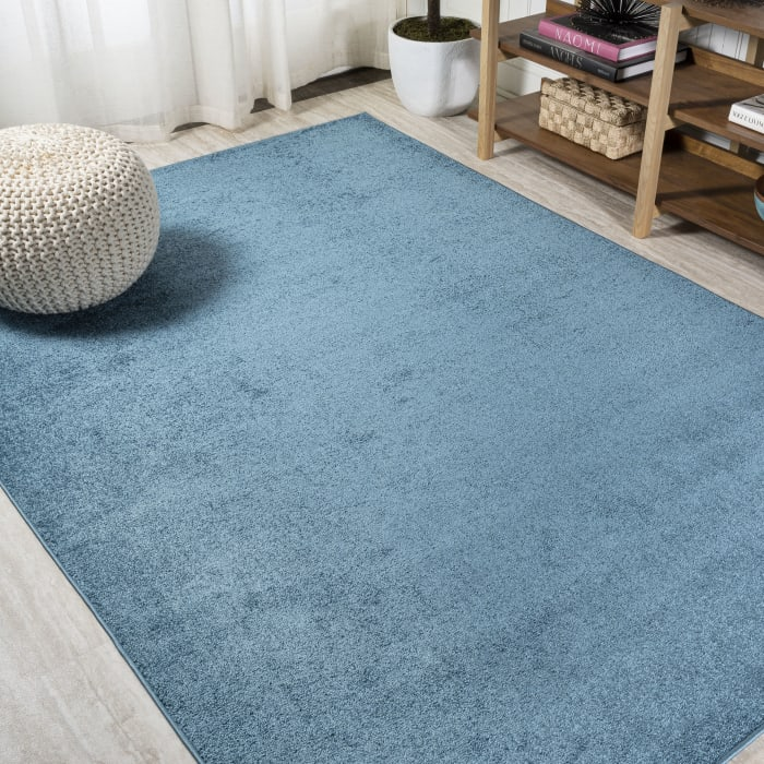 Haze Solid Low-Pile Turquoise  3' x 5' Area Rug