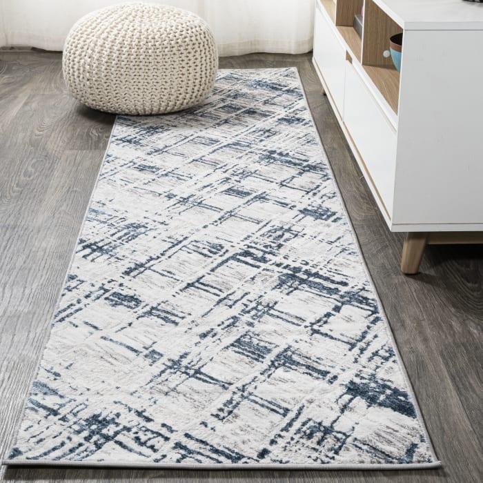 Slant Modern Abstract Gray/Blue 2' x 10' Runner Rug
