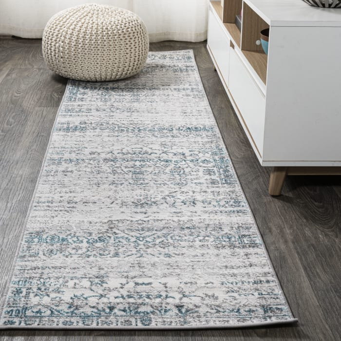 Tidal Modern Strie' Gray/Turquoise 2' x 10' Runner Rug