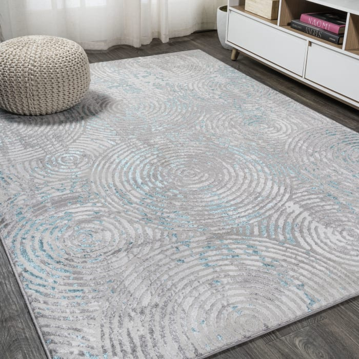 Timeworn Modern Abstract Gray/Turquoise 3' x 5' Area Rug