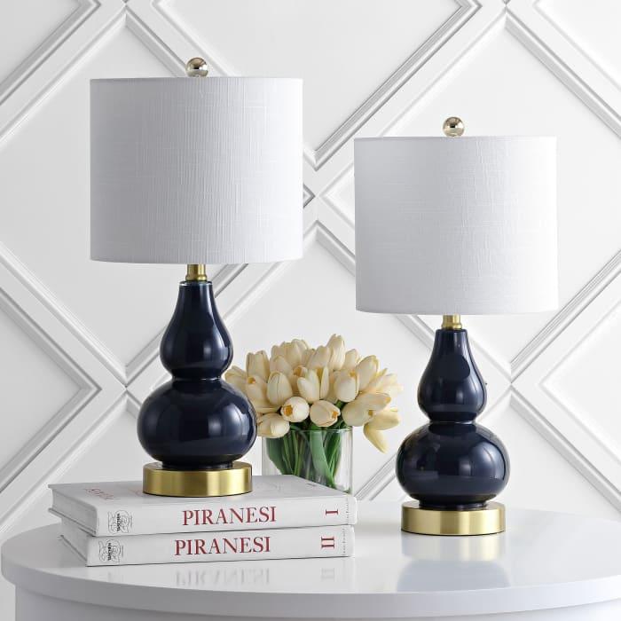 Mini Glass Table Lamp, Navy (Set of 2)