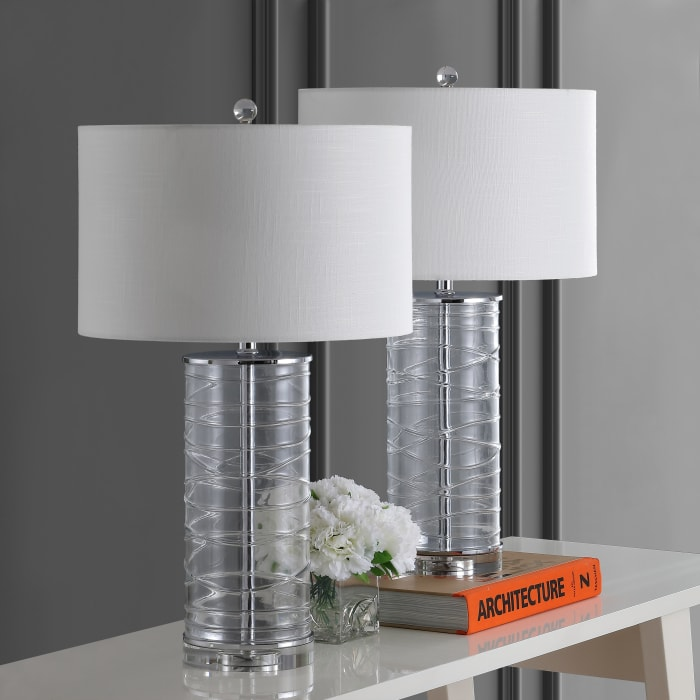 Modern Fused Glass Cylinder Table Lamp, Clear (Set of 2)