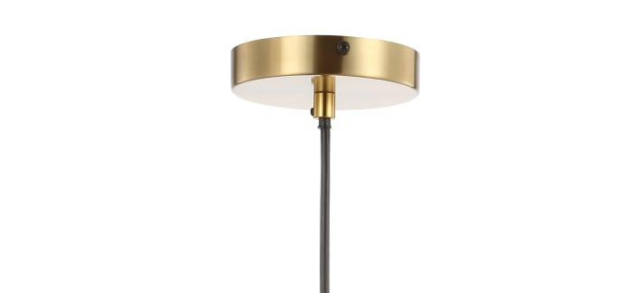 Adjustable Iron/Glass Retro Hurricane LED Pendant, Brass Gold
