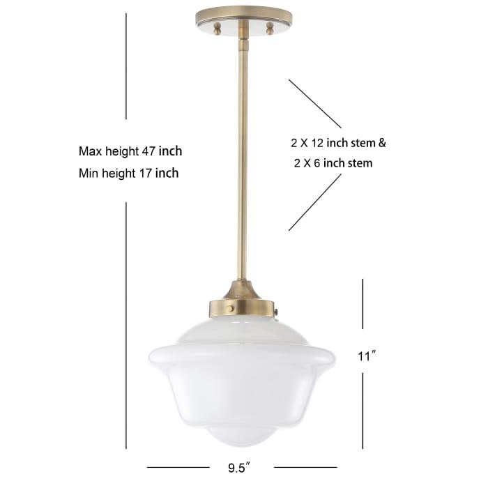 Adjustable Drop Metal/Glass LED Pendant, Brass Gold/White