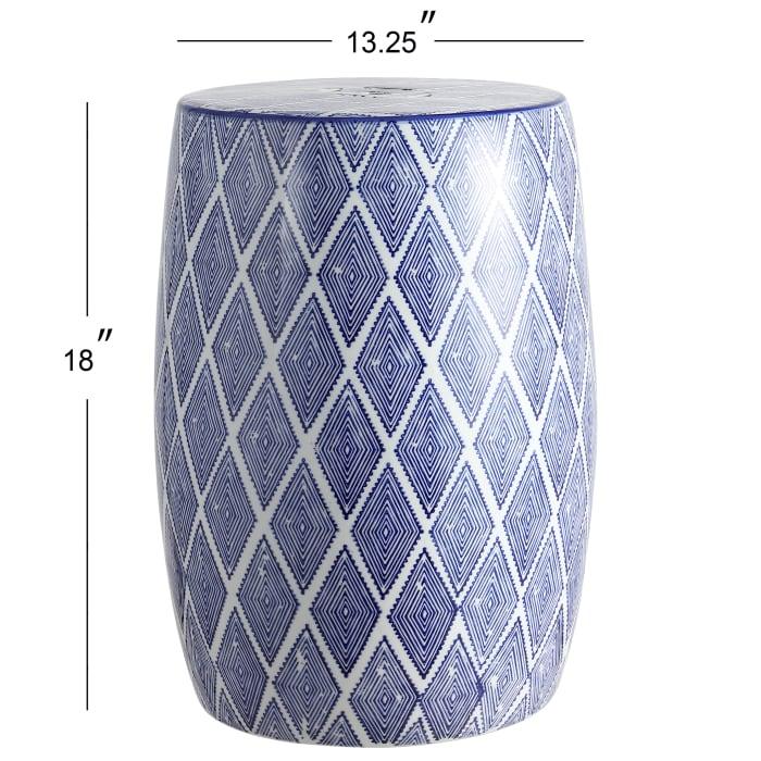 Moroccan Diamonds Ceramic Drum Garden Stool, Blue/White