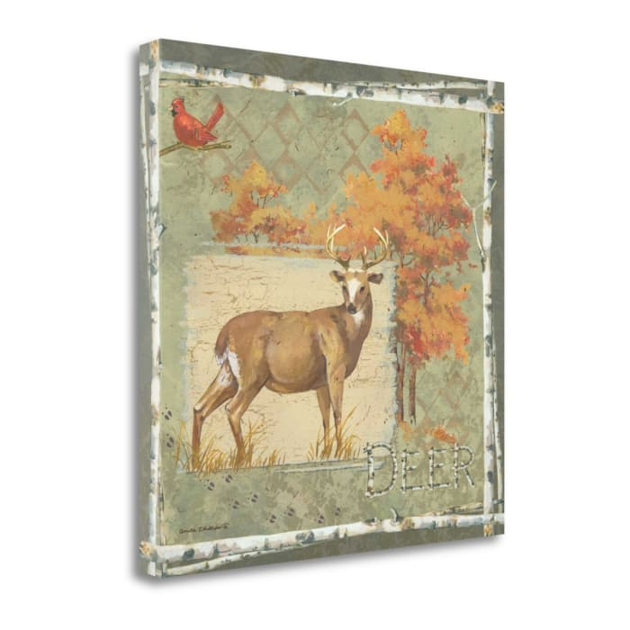 Deer On Green By Anita Phillips Wrapped Canvas Wall Art