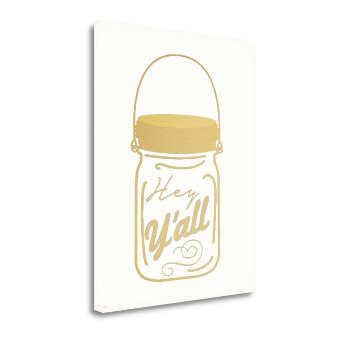 Faux Gold Hey Yall By Jo Moulton Wrapped Canvas Wall Art