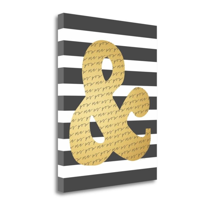 Faux Gold Ampersand By Jo Moulton Wrapped Canvas Wall Art