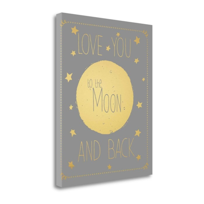 Moon And Back Gold Font By Jo Moulton Wrapped Canvas Wall Art