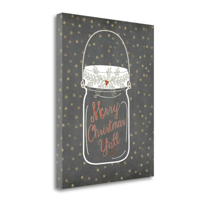 Merry Christmas Yall - Snowflake By Jo Moulton Wrapped Canvas Wall Art