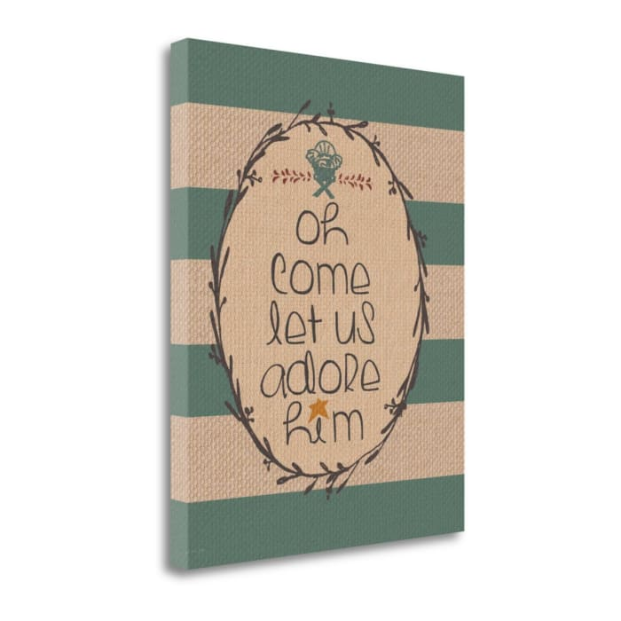 Burlap Adore Him By Jo Moulton Wrapped Canvas Wall Art