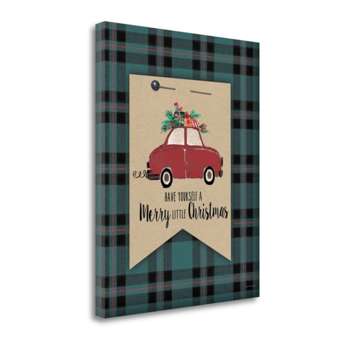 Merry Little Christmas Plaid By Jo Moulton Wrapped  Canvas Wall Art