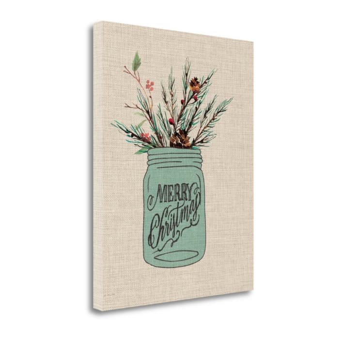 Christmas Jar - Linen By Jo Moulton Wrapped  CanvasMerry Wall Art