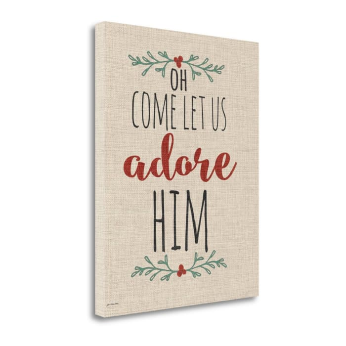 Adore Him Rustic Linen By Jo Moulton Wrapped Canvas Wall Art