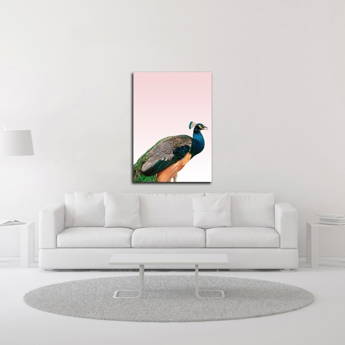 Peacock on Pink by Design Fabrikken Wrapped Canvas Wall Art