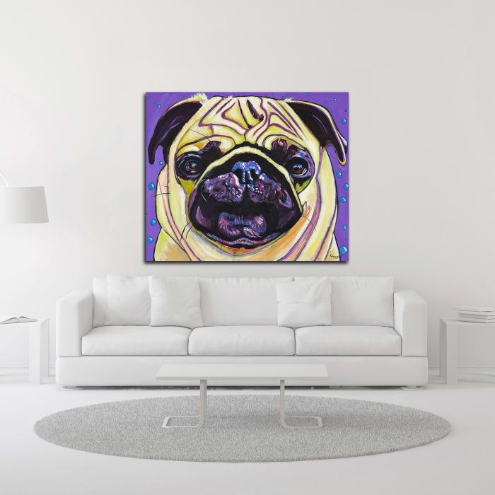 Purple Pug by Kathryn Wronski Wrapped Canvas Wall Art