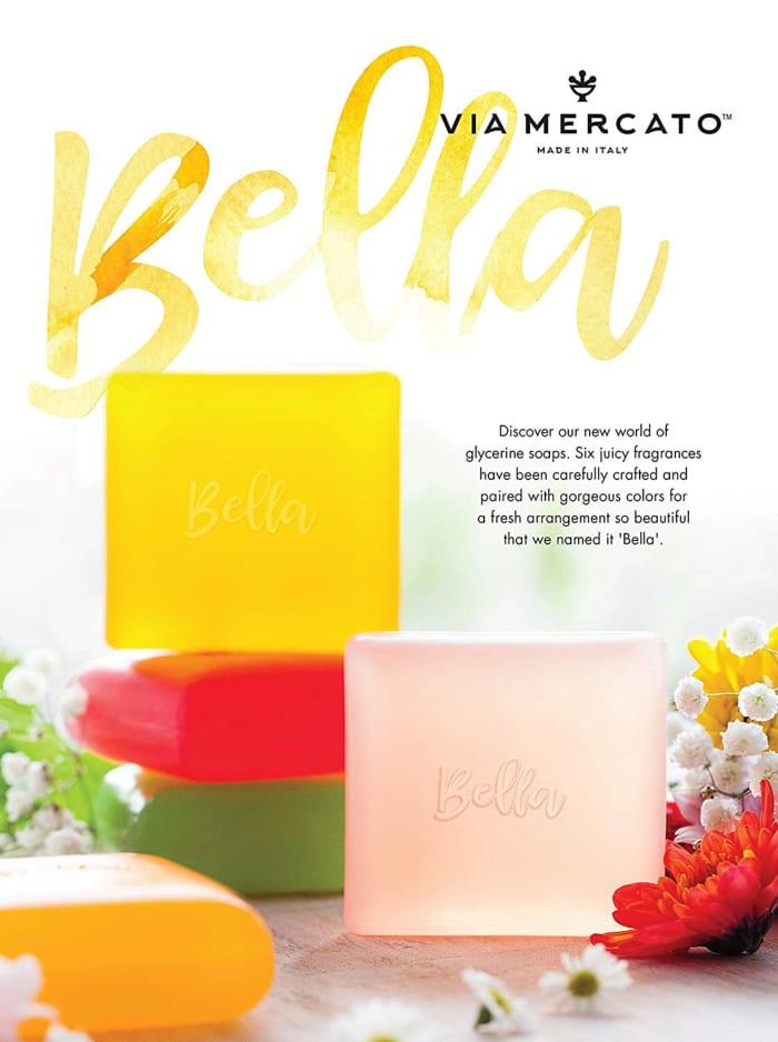 Via Mercato Bella 100g  Pink Grapefruit, Vervain & Cassis Glycerin Soap