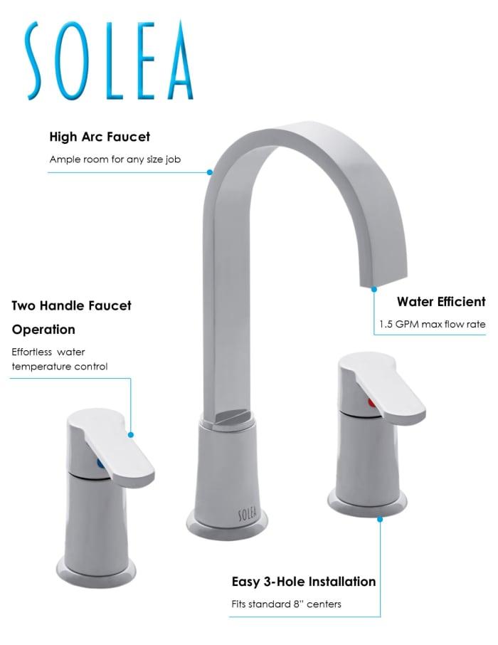 Placid Chrome Brass Widespread Dual Handle Bathroom Faucet