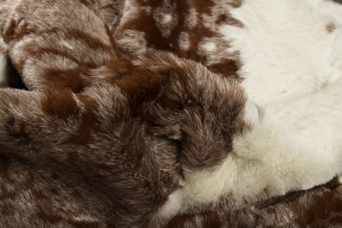 Brown and White Faux Cowhide Area Rug