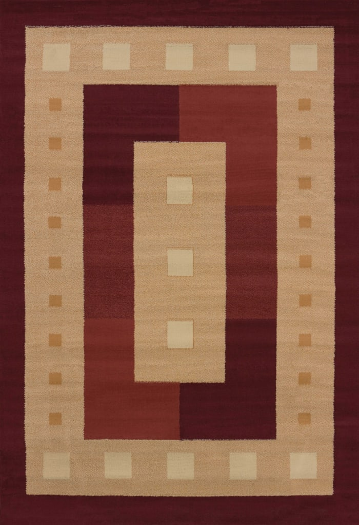 Burgundy and Tan Border 4' x 5' Accent Rug
