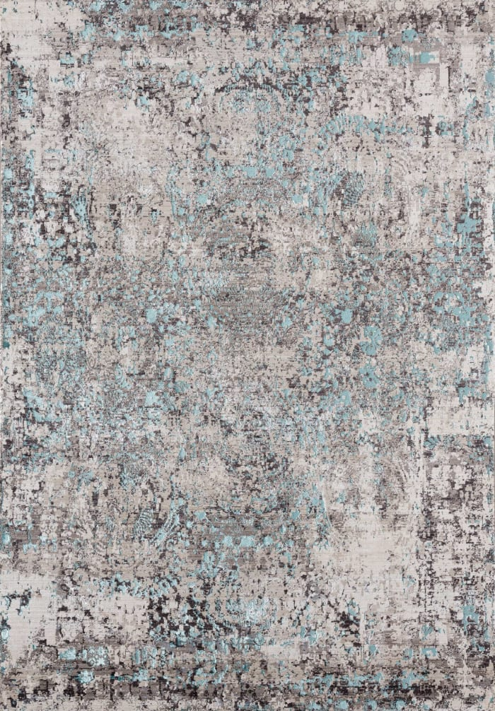 Faded Abstract Gray and Turq 12' x 15' Rug