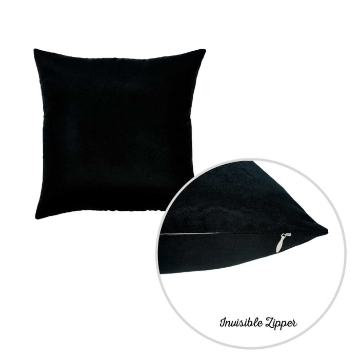 Black Brushed Twill Set of 2 Decorative Throw Pillow Covers