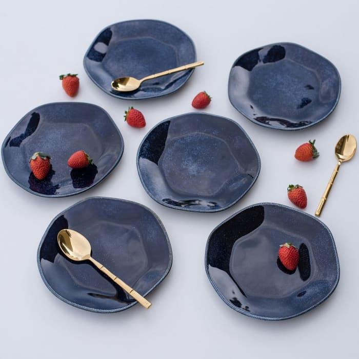 RYO 6 Piece Dark Blue Porcelain Salad Plate Set