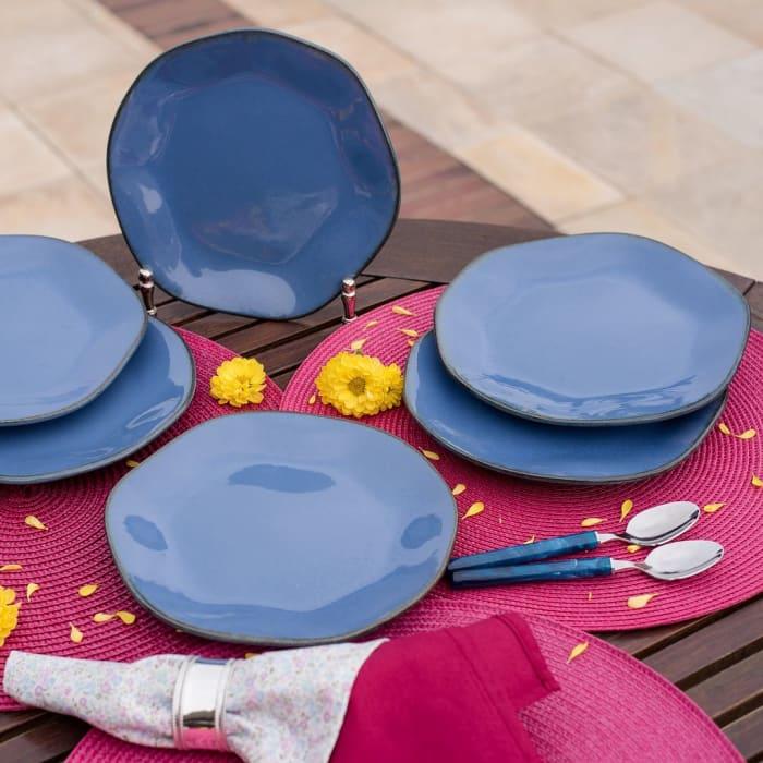 RYO 12 Piece Blue Dinner Plate Set