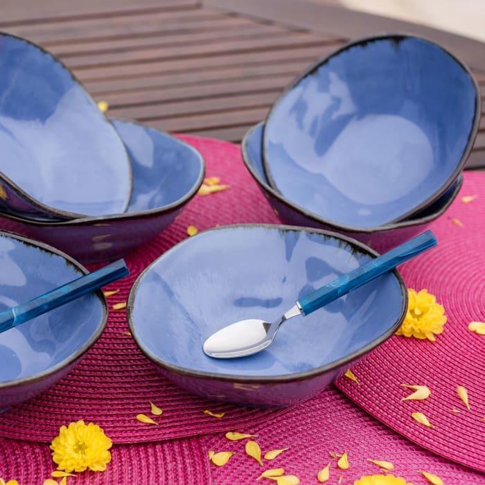 RYO 6 Piece Blue Dinner Soup Bowl Set